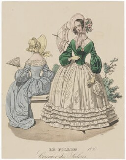 Carriage Costume and Toilette d'Interieur, 1839, published in The Court Magazine and Monthly Critic and Lady's Magazine and Museum - NPG D47758