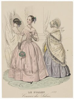 Ball dress and visiting or walking dress, 1839, published in The Court Magazine and Monthly Critic and Lady's Magazine and Museum - NPG D47759