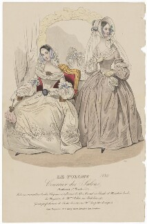 Dinner or opera dress and home morning dress, 1839, published in The Court Magazine and Monthly Critic and Lady's Magazine and Museum - NPG D47757