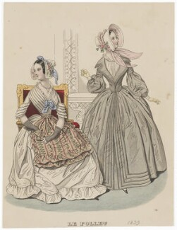 Morning walking dress and Toilette d'interieur, July 1839, published by Dobbs & Co, published in  The Court Magazine and Monthly Critic and Lady's Magazine and Museum - NPG D47760