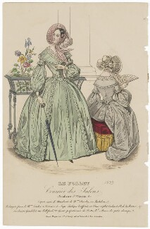 Grande toilette de visites or carriage costume, July 1839, published by Dobbs & Co, published in  The Court Magazine and Monthly Critic and Lady's Magazine and Museum - NPG D47761