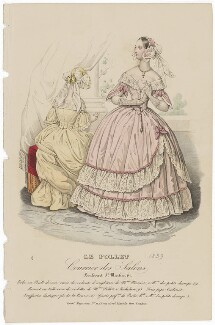 Grand dinner or evening dress, August 1839, published by Dobbs & Co, published in  The Court Magazine and Monthly Critic and Lady's Magazine and Museum - NPG D47762