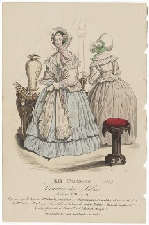 Walking or carriage costume, August 1839, by G.H., published by  Dobbs & Co, published in  The Court Magazine and Monthly Critic and Lady's Magazine and Museum - NPG D47763