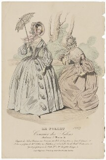 Walking or carriage costume, September 1839, published by Dobbs & Co, published in  The Court Magazine and Monthly Critic and Lady's Magazine and Museum - NPG D47764