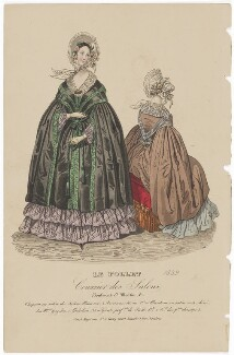 Walking dress, November 1839, published by Dobbs & Co, published in  The Court Magazine and Monthly Critic and Lady's Magazine and Museum - NPG D47767