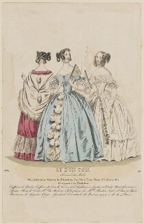 Paris ball dress, 1839, published in Le Bon Ton, Journal des Modes, republished in  Blackwood's Lady's Magazine and Gazette of the Fashionable World - NPG D47773