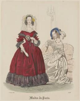 'Modes de Paris', 5 January 1839, probably by Hippolyte Damours, published in  Petit Courrier des Dames, Journal des Modes - NPG D47774