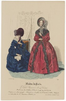 'Modes de Paris', 15 January 1839, probably by Hippolyte Damours, published by  S. & J. Fuller, first published in  Petit Courrier des Dames, Journal des Modes - NPG D47776