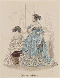 'Modes de Paris', 20 January 1839, probably by Hippolyte Damours, published in  Petit Courrier des Dames, Journal des Modes - NPG D47778