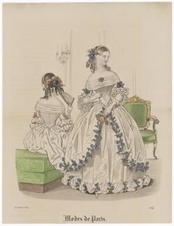 'Modes de Paris', 31 January 1839, probably by Hippolyte Damours, published in  Petit Courrier des Dames, Journal des Modes - NPG D47779