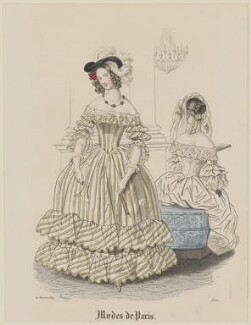 'Modes de Paris', 20 February 1839, probably by Hippolyte Damours, published in  Petit Courrier des Dames, Journal des Modes - NPG D47781
