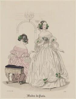 'Modes de Paris', 25 February 1839, probably by Hippolyte Damours, published in  Petit Courrier des Dames, Journal des Modes - NPG D47782