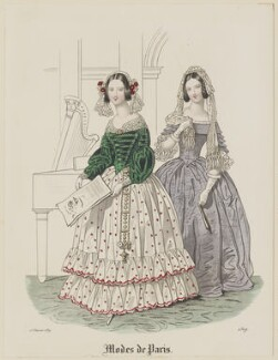 'Modes de Paris', 15 February 1839, probably by Hippolyte Damours, published in  Petit Courrier des Dames, Journal des Modes - NPG D47783