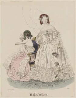 'Modes de Paris', 28 February 1839, probably by Hippolyte Damours, published in  Petit Courrier des Dames, Journal des Modes - NPG D47784