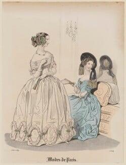'Modes de Paris', 5 March 1839, probably by Hippolyte Damours, published in  Petit Courrier des Dames, Journal des Modes - NPG D47785