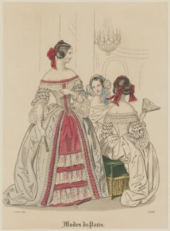 'Modes de Paris', 15 March 1839, probably by Hippolyte Damours, published in  Petit Courrier des Dames, Journal des Modes - NPG D47787