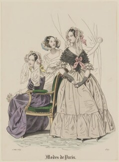 'Modes de Paris', 15 March 1839, probably by Hippolyte Damours, published in  Petit Courrier des Dames, Journal des Modes - NPG D47788