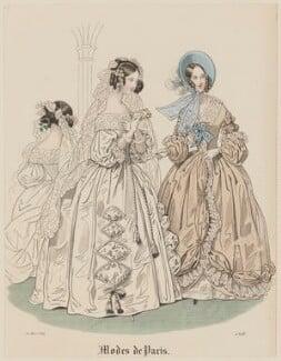 'Modes de Paris', 20 March 1839. 'Costumes de Mariée et toilette de Longchamp', probably by Hippolyte Damours, published in  Petit Courrier des Dames, Journal des Modes - NPG D47789