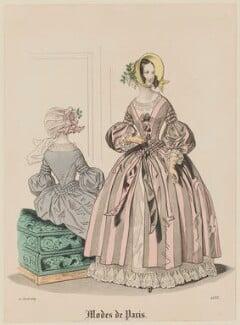 'Modes de Paris', 10 April 1839. 'Modes de Longchamp', probably by Hippolyte Damours, published in  Petit Courrier des Dames, Journal des Modes - NPG D47791