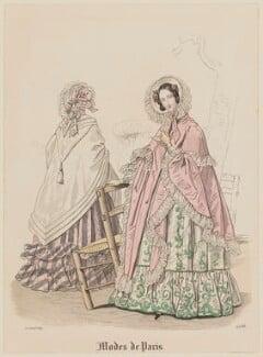 'Modes de Paris', 30 April 1839. 'Modes de Longchamp', probably by Hippolyte Damours, published in  Petit Courrier des Dames, Journal des Modes - NPG D47792