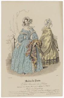 'Modes de Paris', 15 April 1839, probably by Hippolyte Damours, published by  S. & J. Fuller, first published in  Petit Courrier des Dames, Journal des Modes - NPG D47793