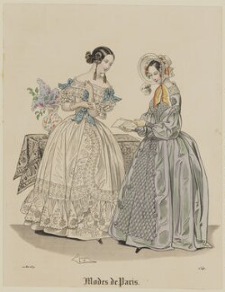 'Modes de Paris', 10 May 1839, probably by Hippolyte Damours, published in  Petit Courrier des Dames, Journal des Modes - NPG D47796