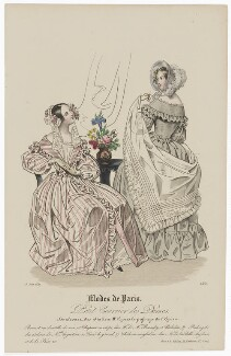 'Modes de Paris', 15 June 1839, probably by Hippolyte Damours, published by  S. & J. Fuller, first published in  Petit Courrier des Dames, Journal des Modes - NPG D47805