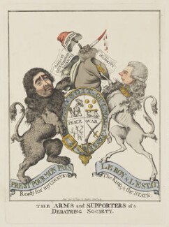 The Arms and Supporters of a Debateing Society (Charles James Fox; William Pitt), by and published by Robert Dighton - NPG D47139