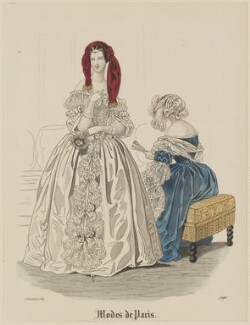 'Modes de Paris', 5 December 1839, probably by Hippolyte Damours, probably published by  S. & J. Fuller, first published in  Petit Courrier des Dames, Journal des Modes - NPG D47836