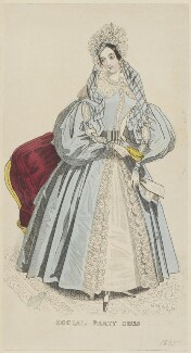 'Social Party Dress', November 1834, published by G. Henderson, published in  The Ladies' Cabinet of Fashion, Music and Romance - NPG D47677