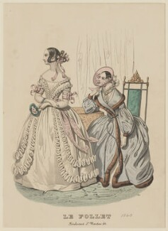 Dinner or Evening Dress and Walking Costume, January 1840, published by Dobbs & Co, published in  The Court Magazine and Monthly Critic and Lady's Magazine and Museum, first published in  Le Follet, Courrier des Salons, Journal des Modes - NPG D47853