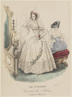 Ball dress, May 1839, published by Dobbs & Co, published in  The Court Magazine and Monthly Critic and Lady's Magazine and Museum, first published in  Le Follet, Courrier des Salons, Journal des Modes - NPG D47854
