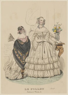 Ball and dinner dresses, February 1840, published by Dobbs & Co, published in  The Court Magazine and Monthly Critic and Lady's Magazine and Museum, first published in  Le Follet, Courrier des Salons, Journal des Modes - NPG D47855