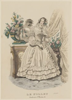 'Grand Toilette de matin - Morning Concert Dress', May 1840, published by Dobbs & Co, published in  The Court Magazine and Monthly Critic and Lady's Magazine and Museum, first published in  Le Follet, Courrier des Salons, Journal des Modes - NPG D47856