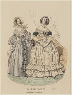 Dinner or evening dress and carriage dress, March 1840, published by Dobbs & Co, published in  The Court Magazine and Monthly Critic and Lady's Magazine and Museum, first published in  Le Follet, Courrier des Salons, Journal des Modes - NPG D47857