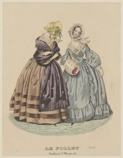 New spring walking dresses, March 1840, published by Dobbs & Co, published in  The Court Magazine and Monthly Critic and Lady's Magazine and Museum, first published in  Le Follet, Courrier des Salons, Journal des Modes - NPG D47869