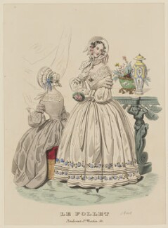 'Carriage Costume or Visiting Dress - Toilettes de Long Champs', May 1840, published by Dobbs & Co, published in  The Court Magazine and Monthly Critic and Lady's Magazine and Museum, first published in  Le Follet, Courrier des Salons, Journal des Modes - NPG D47862