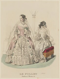 Court ball dress, May 1840, published by Dobbs & Co, published in  The Court Magazine and Monthly Critic and Lady's Magazine and Museum, first published in  Le Follet, Courrier des Salons, Journal des Modes - NPG D47858