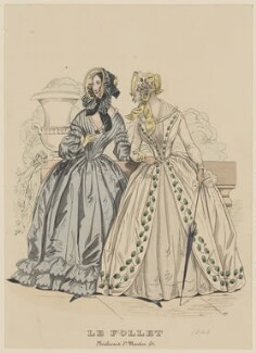 'Toilettes de Promenade - Walking Dresses', September 1840, published by Dobbs & Co, published in  The Court Magazine and Monthly Critic and Lady's Magazine and Museum, first published in  Le Follet, Courrier des Salons, Journal des Modes - NPG D47864