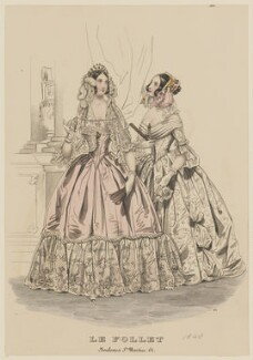 Race ball dresses, October 1840, published by Dobbs & Co, published in  The Court Magazine and Monthly Critic and Lady's Magazine and Museum, first published in  Le Follet, Courrier des Salons, Journal des Modes - NPG D47860