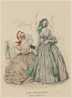 Autumn dresses, October 1840, published by Dobbs & Co, published in  The Court Magazine and Monthly Critic and Lady's Magazine and Museum, first published in  Le Follet, Courrier des Salons, Journal des Modes - NPG D47865