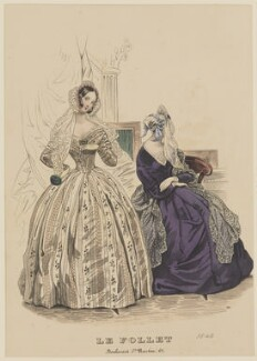 'Dinner dress and toilette d'interieur', November 1840, published by Dobbs & Co, published in  The Court Magazine and Monthly Critic and Lady's Magazine and Museum, first published in  Le Follet, Courrier des Salons, Journal des Modes - NPG D47868