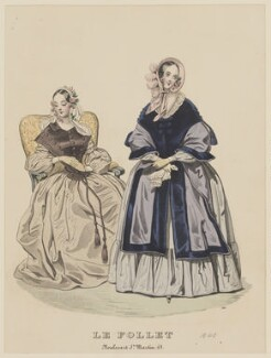 Walking dress, November 1840, published by Dobbs & Co, published in  The Court Magazine and Monthly Critic and Lady's Magazine and Museum, first published in  Le Follet, Courrier des Salons, Journal des Modes - NPG D47870