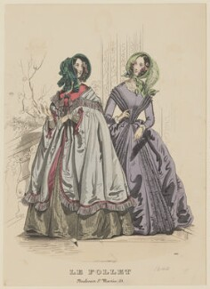 'Toilettes de Promenade. Winter Walking Dresses', December 1840, published by Dobbs & Co, published in  The Court Magazine and Monthly Critic and Lady's Magazine and Museum, first published in  Le Follet, Courrier des Salons, Journal des Modes - NPG D47867