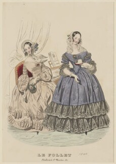 Visiting and dinner dress, April 1840, published by Dobbs & Co, published in  The Court Magazine and Monthly Critic and Lady's Magazine and Museum, first published in  Le Follet, Courrier des Salons, Journal des Modes - NPG D47859