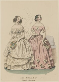 Ball and dinner dresses, January 1841, published by Dobbs & Co, published in  The Court Magazine and Monthly Critic and Lady's Magazine and Museum, first published in  Le Follet, Courrier des Salons, Journal des Modes - NPG D47871