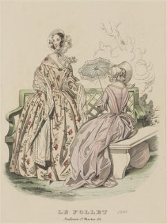 Toilettes de Longchamps, May 1841, published by Dobbs & Co, published in  The Court Magazine and Monthly Critic and Lady's Magazine and Museum, first published in  Le Follet, Courrier des Salons, Journal des Modes - NPG D47873