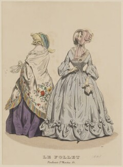 Carriage costume, March 1841, published by Dobbs & Co, published in  The Court Magazine and Monthly Critic and Lady's Magazine and Museum, first published in  Le Follet, Courrier des Salons, Journal des Modes - NPG D47874