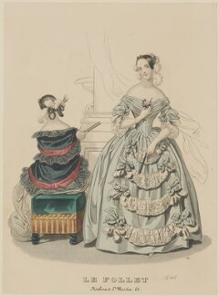 Ball and dinner dresses, 1841, published by Dobbs & Co, published in  The Court Magazine and Monthly Critic and Lady's Magazine and Museum, first published in  Le Follet, Courrier des Salons, Journal des Modes - NPG D47875