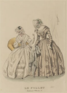 Toilette d'interieur and carriage costume, July 1841, published by Dobbs & Co, published in  The Court Magazine and Monthly Critic and Lady's Magazine and Museum, first published in  Le Follet, Courrier des Salons, Journal des Modes - NPG D47877